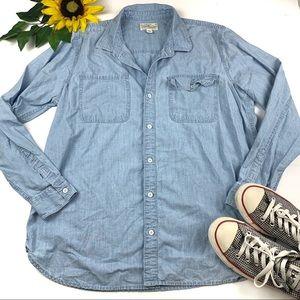 Lucky Brand Shirt Denim Button Down Blouse Cotton